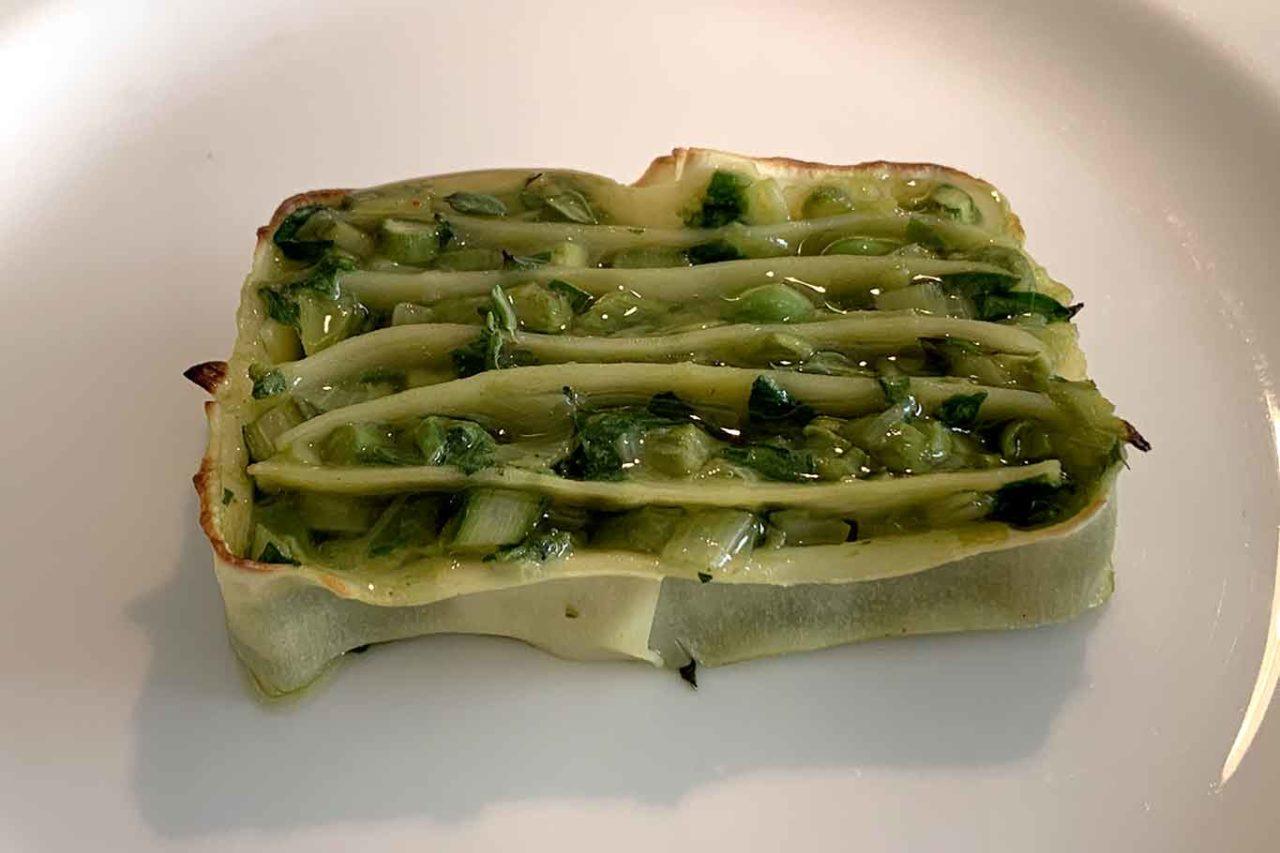 nuovo menu da 150 € ristorante Reale: terrina vegetale