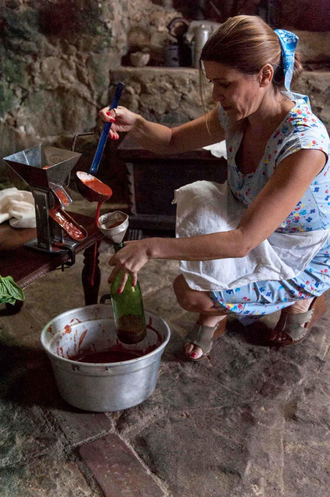 pomodori e salsiccia a Gioi Cilento