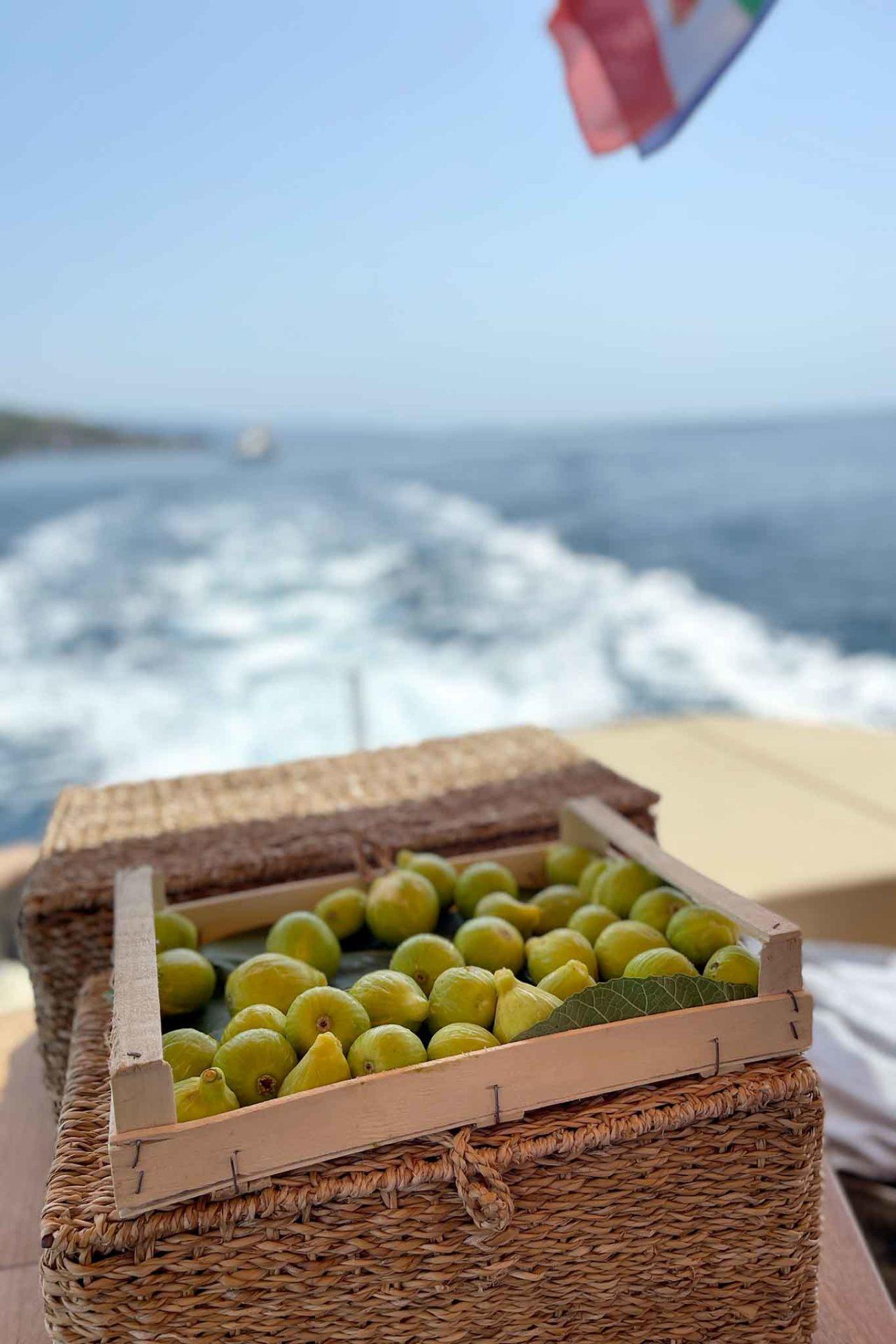 fichi del Cilento sulla barca Leucosia