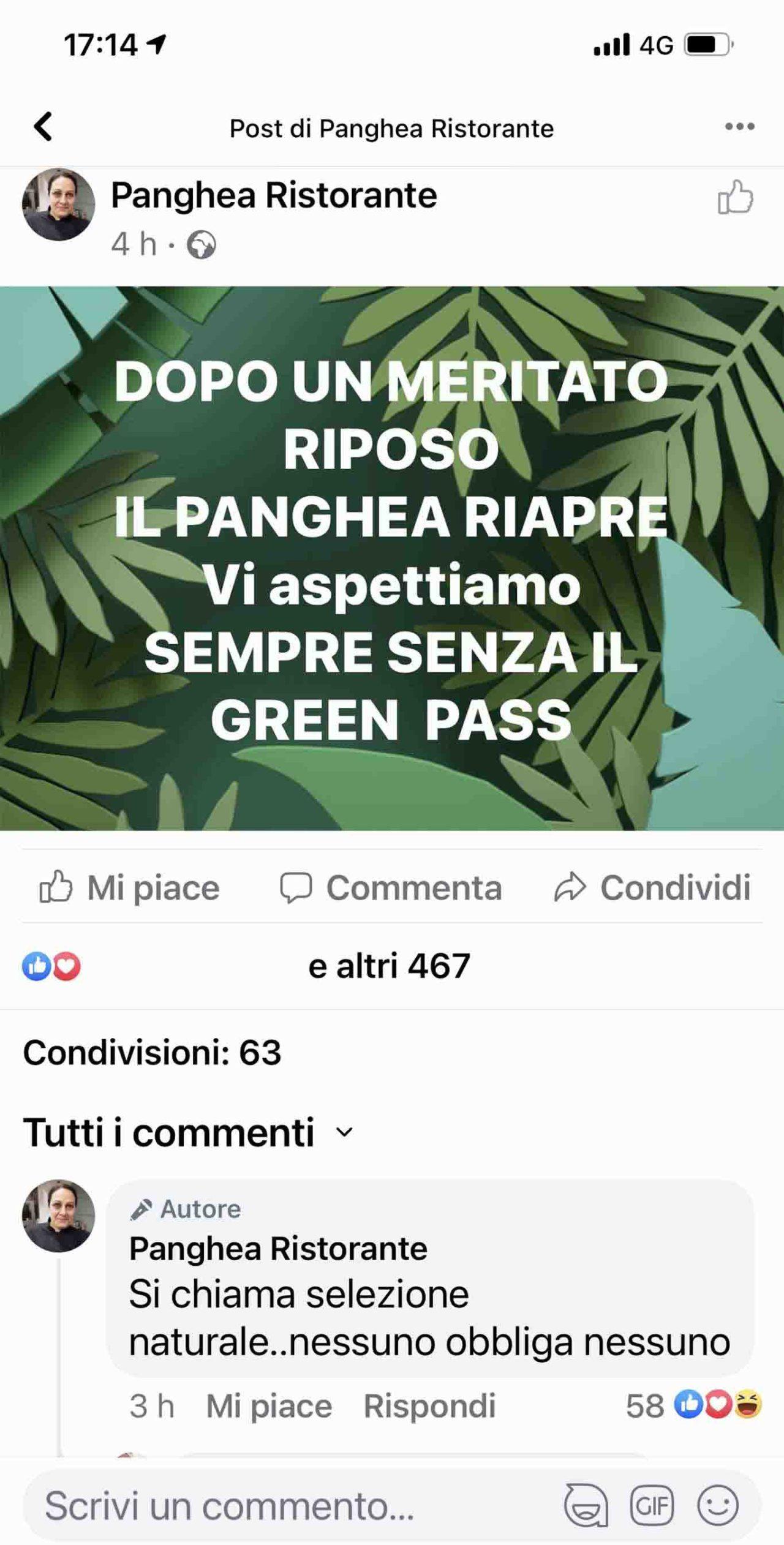 Panghea post instagram no green pass