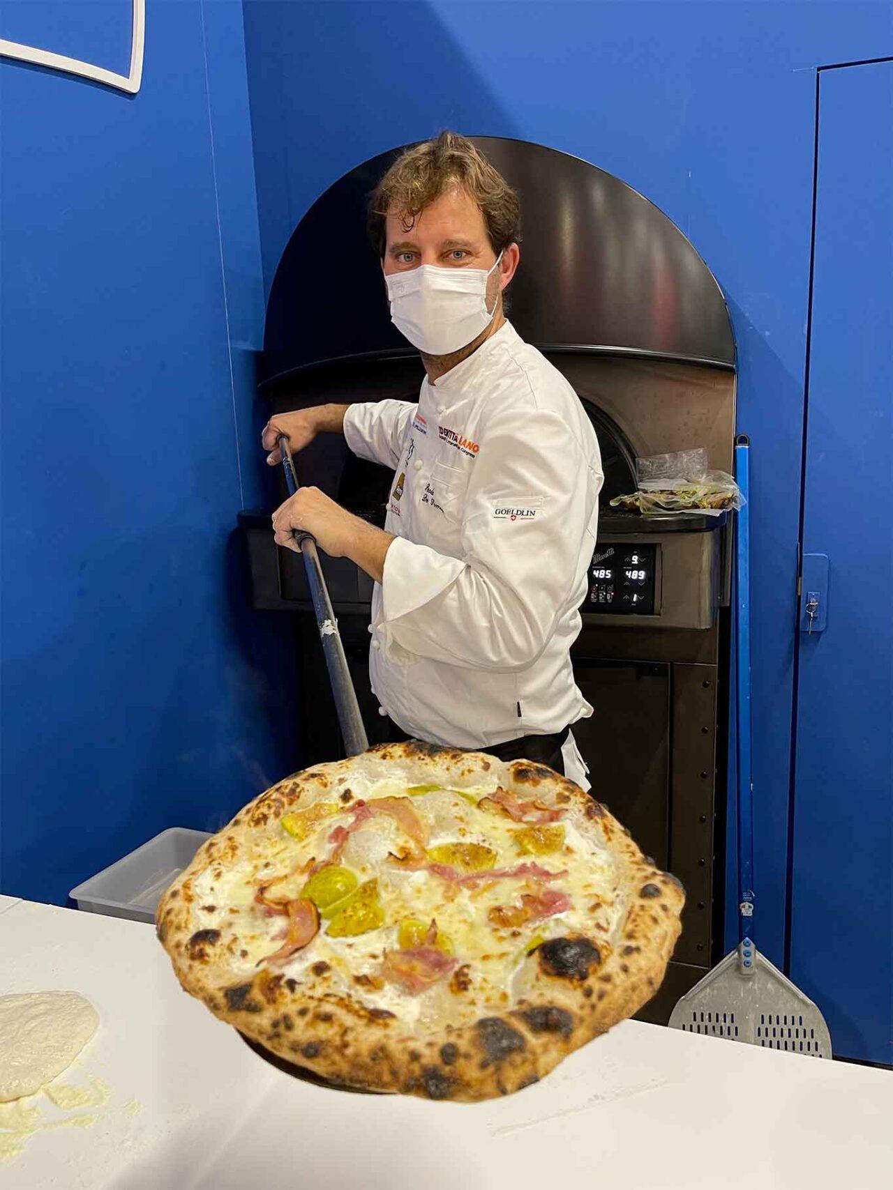 Paolo De Simone e la pizza con fiordilatte pancetta e fichi del cilento