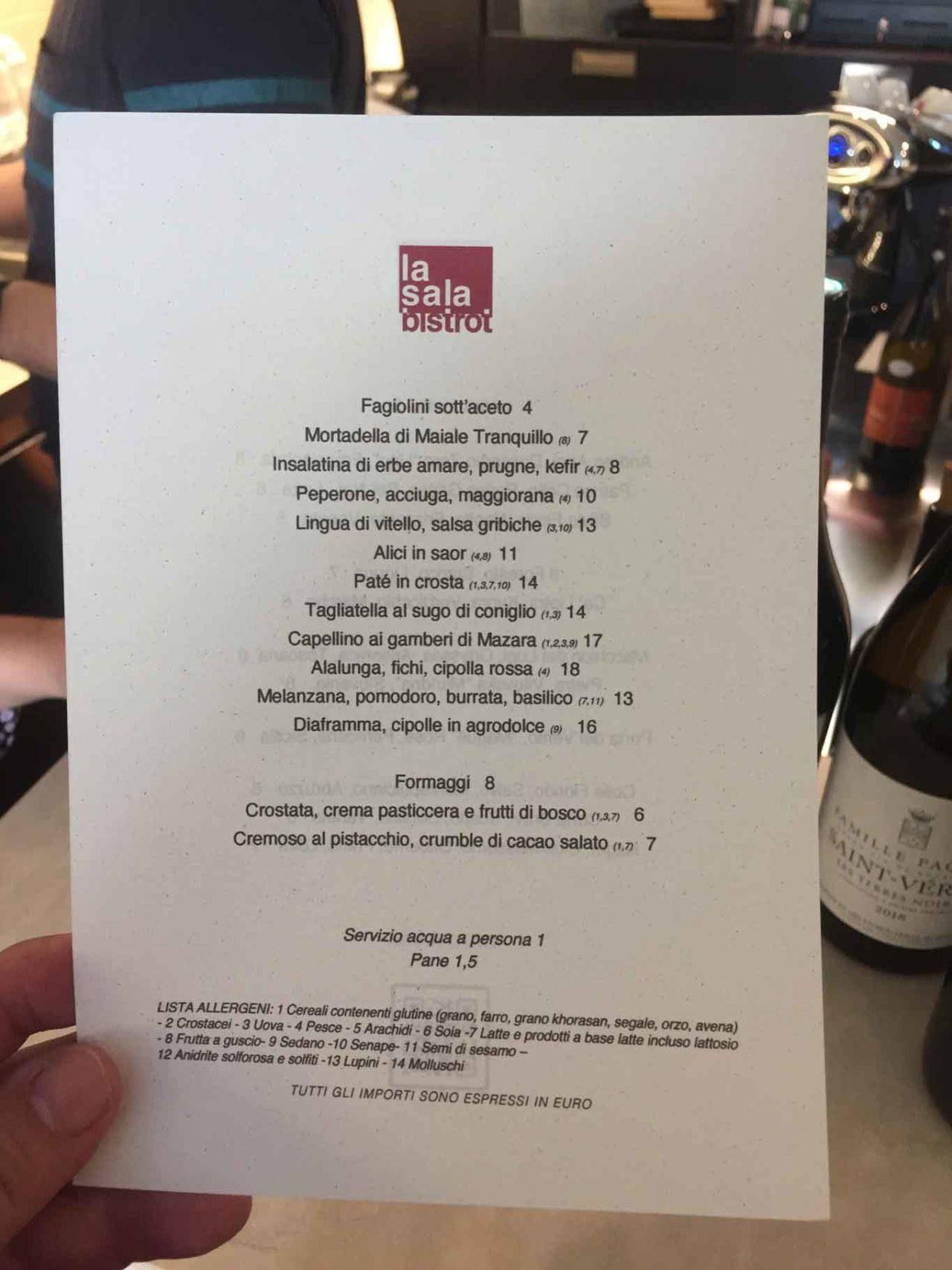 la sala bistrot menu