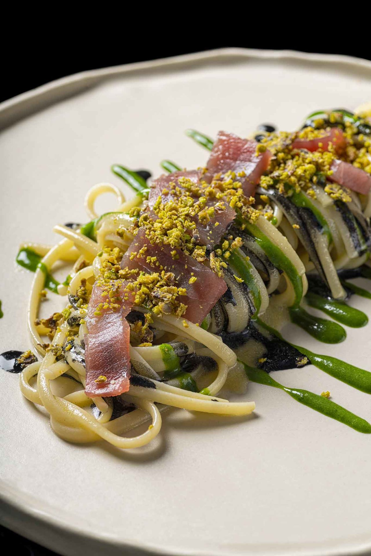 linguine con pistacchio e tonno