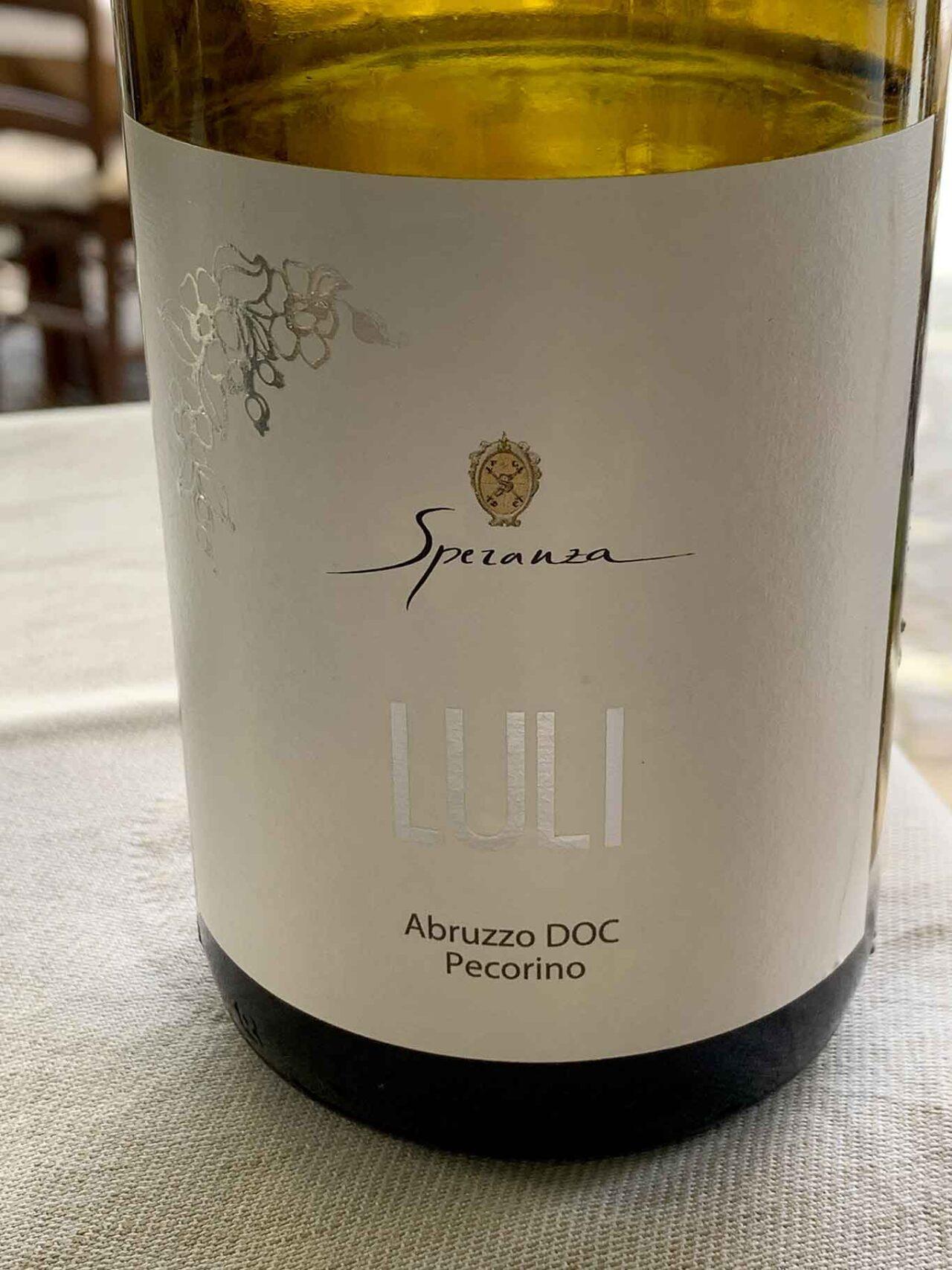 vino pecorino d'Abruzzo DOC 2020 dell'azienda agricola Speranza Edoardo